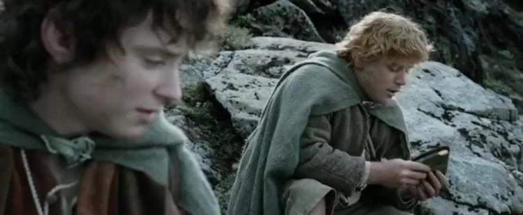 Sam and Frodo share Lembas bread